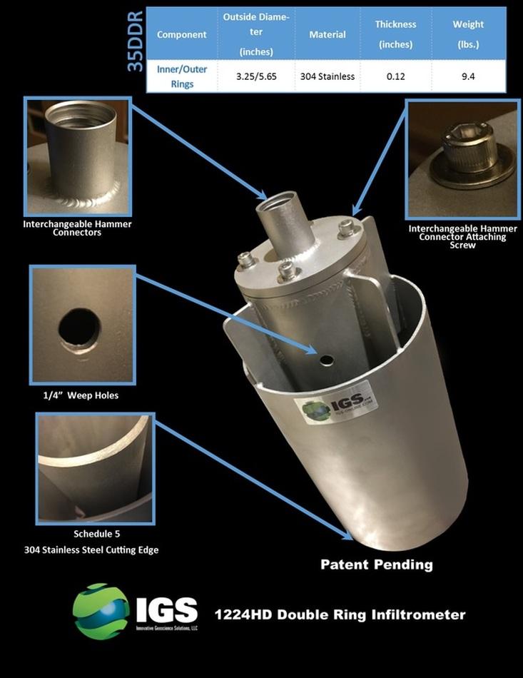 35ddr down hole double ring infiltrometer patent pending. Black Bedroom Furniture Sets. Home Design Ideas